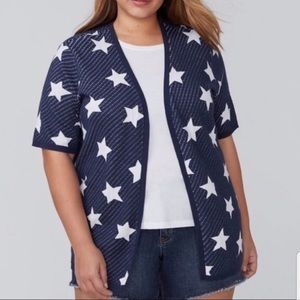 Lane Bryant Blue White Stars Short Sleeve Cardigan